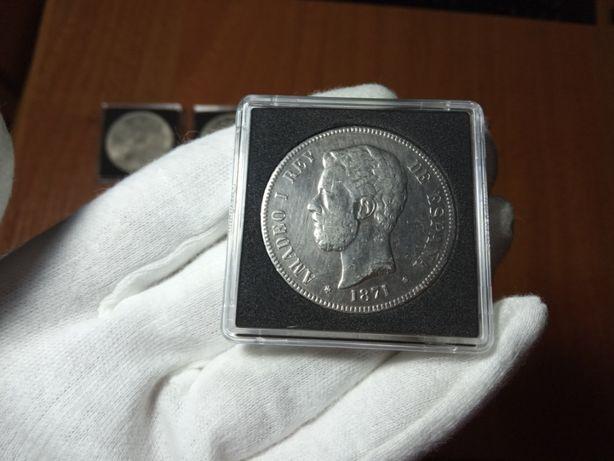 Leuchtturm Испания 5 песет 1871 серебро 25 грамм Амадей I монеты