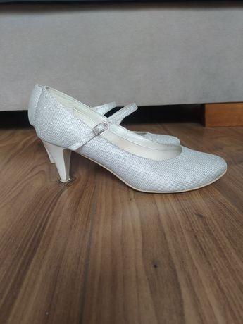 Buty ślubne brokatowe 7 cm obcas rozmiar 40