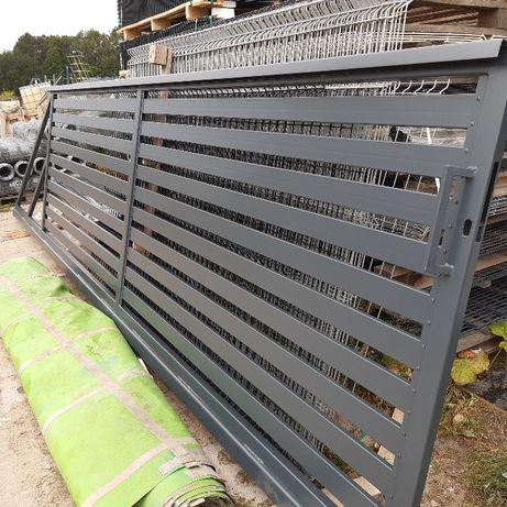 Brama przesuwna 5m palisadowa 80x20 lub 100x20 kompletna Ocynk + RAL
