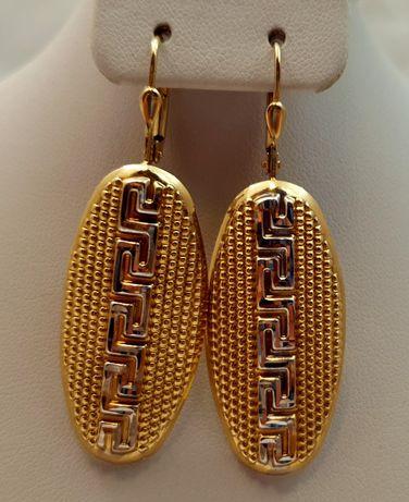Złote kolczyki greckie wzory 6,30g p585 jak nowe /STERNA złoto