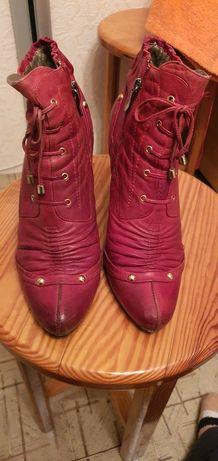 Полуботинки, ботинки красные натуральная кожа