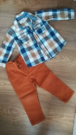 Komplet spodnie 80 koszula h&m 74 super stan
