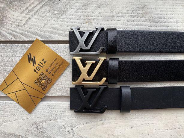 Pasek czarny skórzany Louis Vuitton. Skóra naturalna