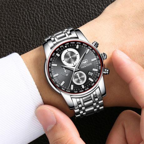 Czarny zegarek bransoleta stal nierdzewna NEKTOM na bransolecie