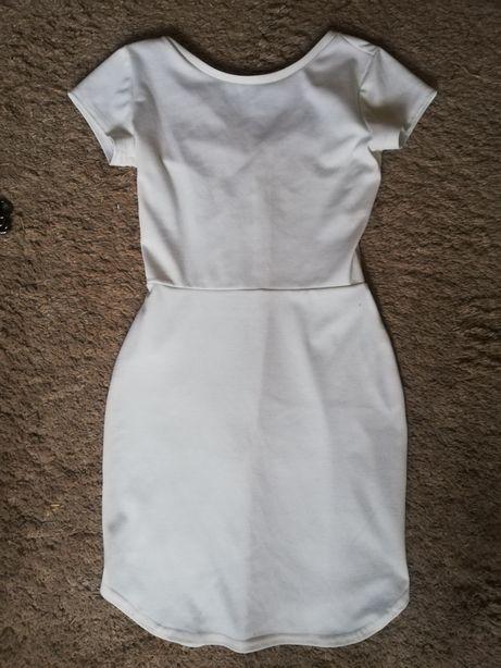 Sukienka biała dopasowana krótki rękaw mini ołówkowa bawełniana