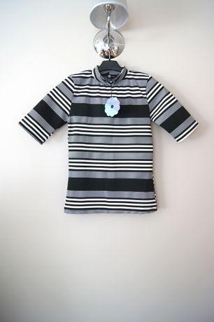 czarno biała biało czarna bluzka t-shirt croptop w pasy 36 34 XS paski