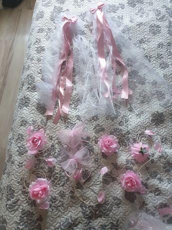 Wstazki z kokardami pudrowy róż.