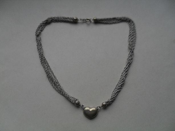 Srebrny naszyjnik - łańcuchy zakończone serduszkiem