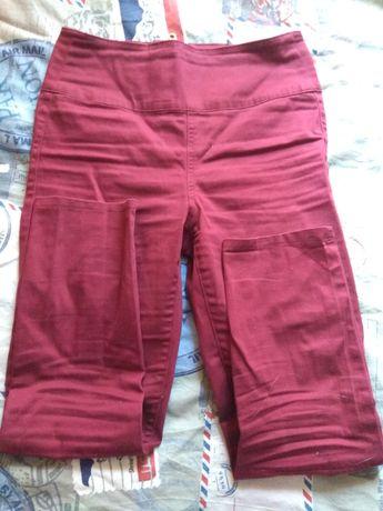 Bordowe spodnie wysoki stan