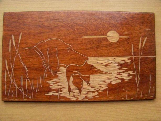 Obraz myśliwski, polowanie - drewno na wysoki połysk, rękodzieło