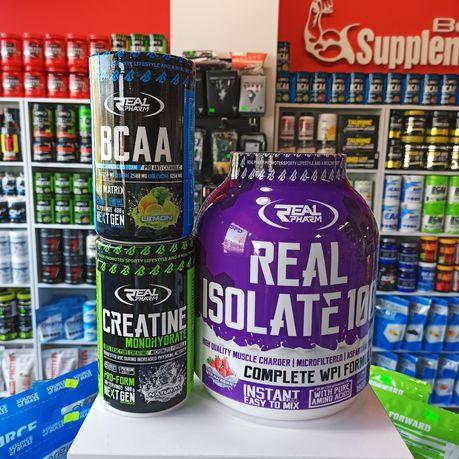 ZESTAW Real Pharm Izolat 1800g, Kreatyna 500g, BCAA, Białko, Odżywki