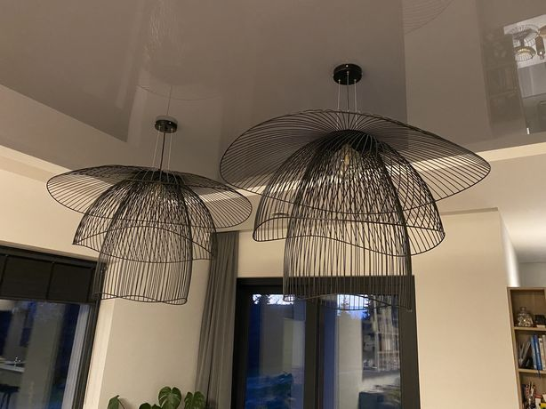 Duży Klosz Forestier Papillon, lampa wiszaca Metal Druciany