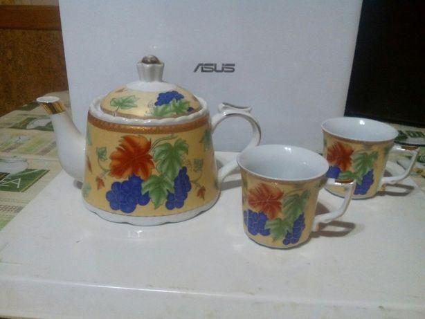чайник заварочный керамический 0.8л.+ 2 бокала