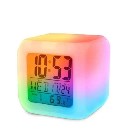 Budzik zegar termometr LCD kameleon świecący