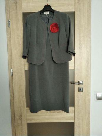 Piękna sukienka z bolerkiem szara z czerwonymi przeszyciami r 46