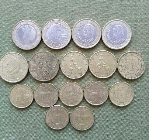 Монеты Евросоюза - 1 евро , 50 , 20 , 10 центов .