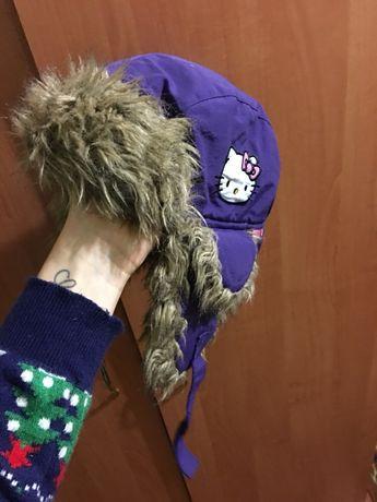 Зимняя шапка ушанка hello kitty