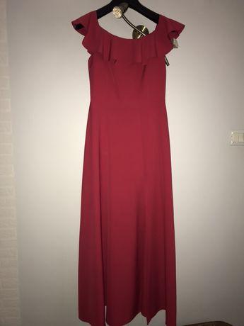 malinowa długa suknia