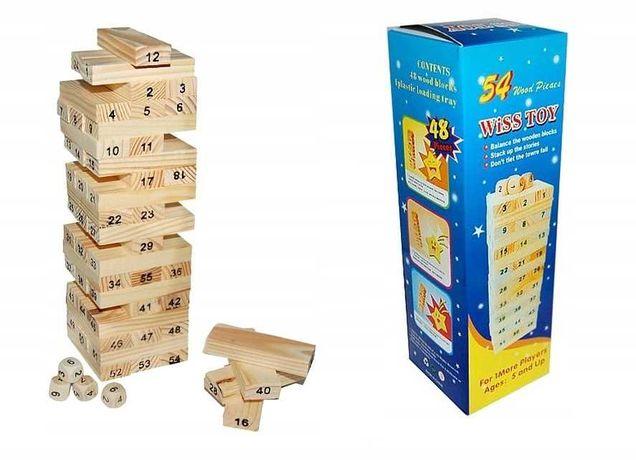 Drewniane klocki JENGA gra zręcznościowa chwiejąca się wieża yenga