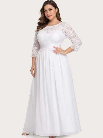 Suknia ślubna długa biała wieczorowa, plus size, 2XL, 3XL, nowa SHEIN