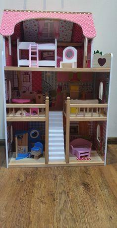 DUŻY Drewniany Domek DLA LALEK 3 poziomy, mebelki, TARAS - XXL