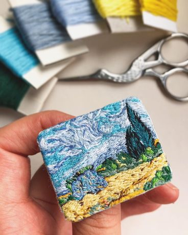 Брошь «Пшеничное поле с кипарисами» Ван Гог