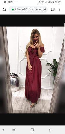 Sukienka długa bordowa hiszpanka nowa tiulowa falbany 40,42,L,XL hit