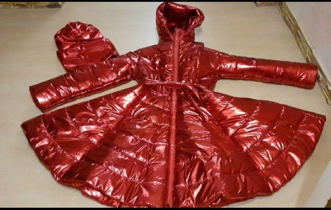Волшебное,эксклюзивное зимное пальто ткань фольга+набор чалма снуд