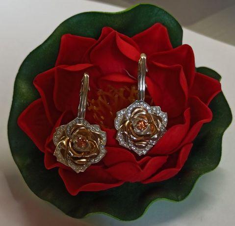 Эксклюзивные серебряные серьги Роза