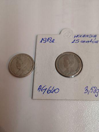 2x 25 centów Holandia 1918 r. Wilhelmina srebro.