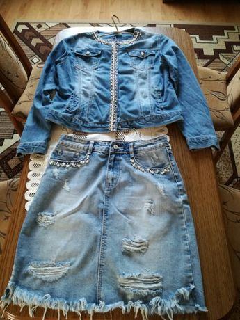 Piekny jeans spodnica plus kurteczka plus krotka spodnicza w gratisie
