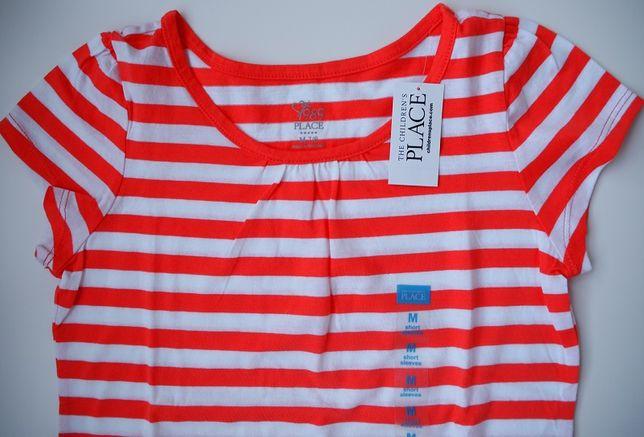 Nowy, bawełniany T-shirt w paski The Children's Place – rozm. 122/128