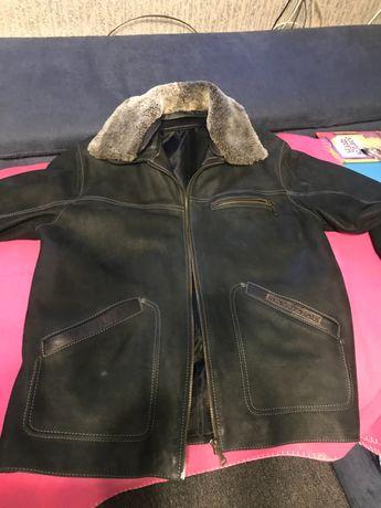 Кожаная мужская куртка, зима