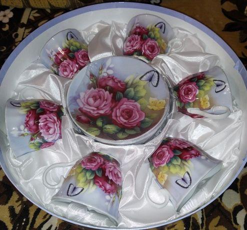 Чайный набор 12 предметов ТМ OLAFF (розы), новый, в заводской упако