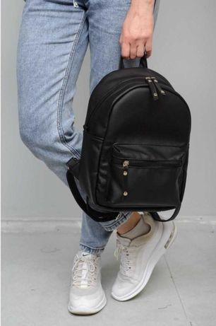 Идеальный черный рюкзак экокожа! Школьный, городской, повседневный