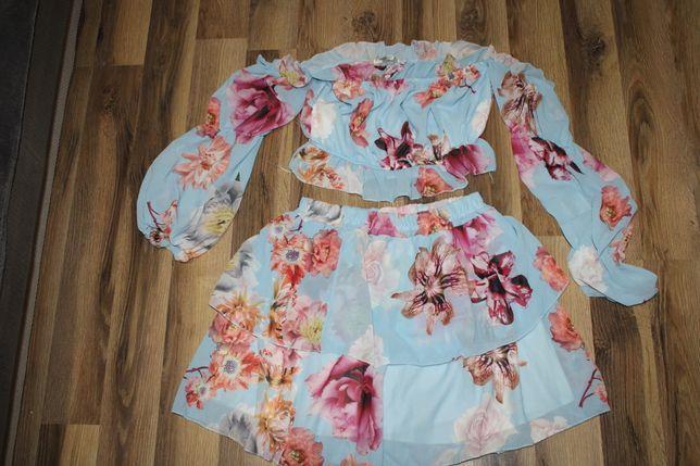 Komplet spódniczka bluzka hiszpanka w kwiaty