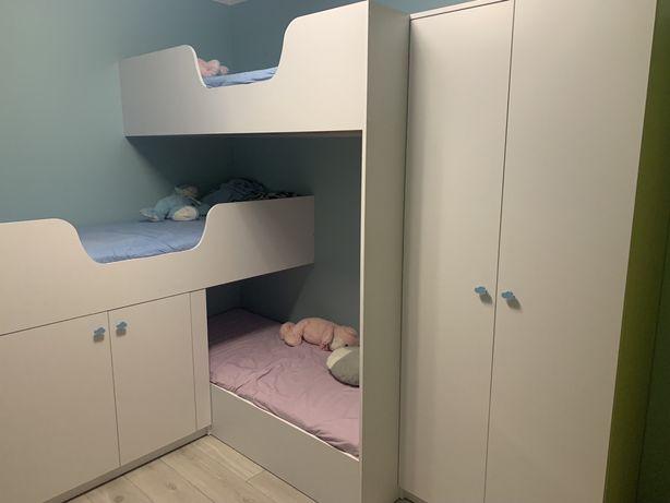 Łóżko dziecięce 3 osobowe piętrowe komoda szafa biurko