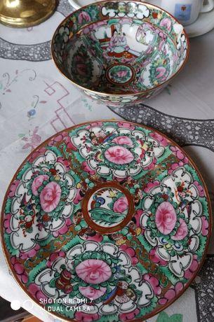 Porcelana de Macau - conjunto prato e taça