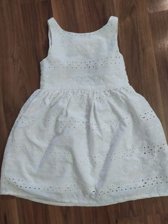Sukienka biała sukienki H&M koronka haft dla bliźniaczek rozm. 110