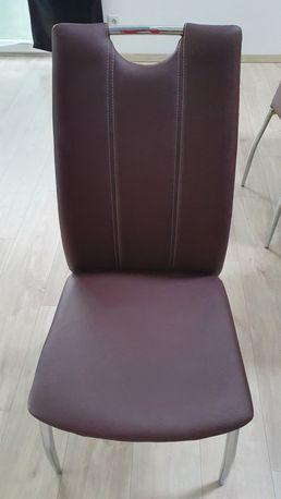 Krzesła komplet tapicerowane brązowe ekoskóra 6 sztuk