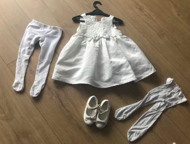 nowy zestaw sukienka cool club roczek chrzest 80 cm + rajtopki buciki