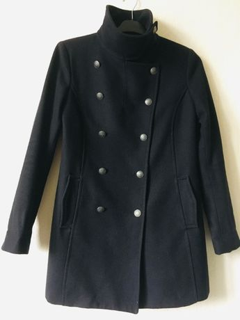 Пальто осень H&M наш 46 размер тёплое шерсть бушлат тёмно-синее