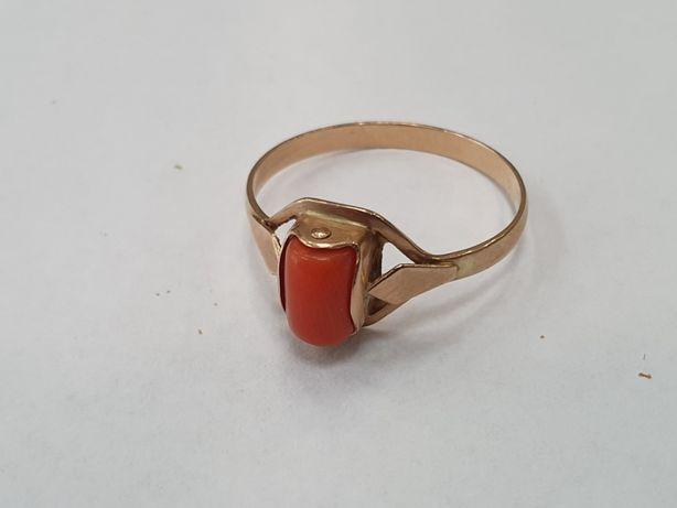 Klasyczny złoty pierścionek damski/ 585/ 2.2 gram/ R23/ Koral/ sklep