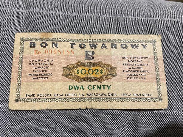 Bon towarowy dwa centy z 1969 roku