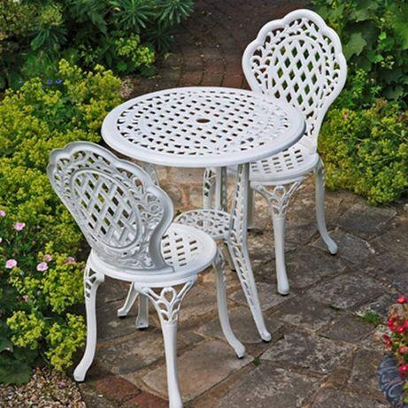 meble balkonowe ogrodowe żeliwne stół + 2 krzesła białe turystyczne