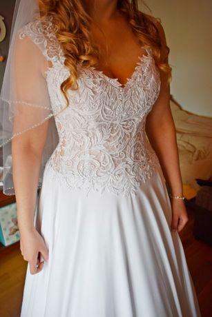 Biała suknia ślubna z gorsetem rozmiar 38/40 z trenem