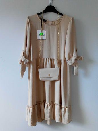 Beżowa sukienka falbanki Oversize M/L/XL