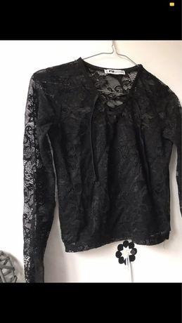 Nowa czarna bluzka z koronka elegancka impreza święta