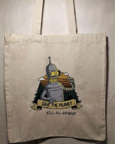 Шоппер, эко-сумка, сумка Футурама с ручной росписью/ручная работа