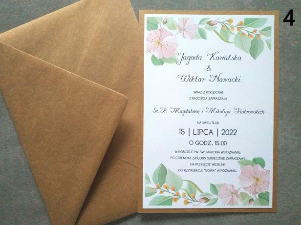 Zaproszenia delikatne kwiatki jednokartkowe A5